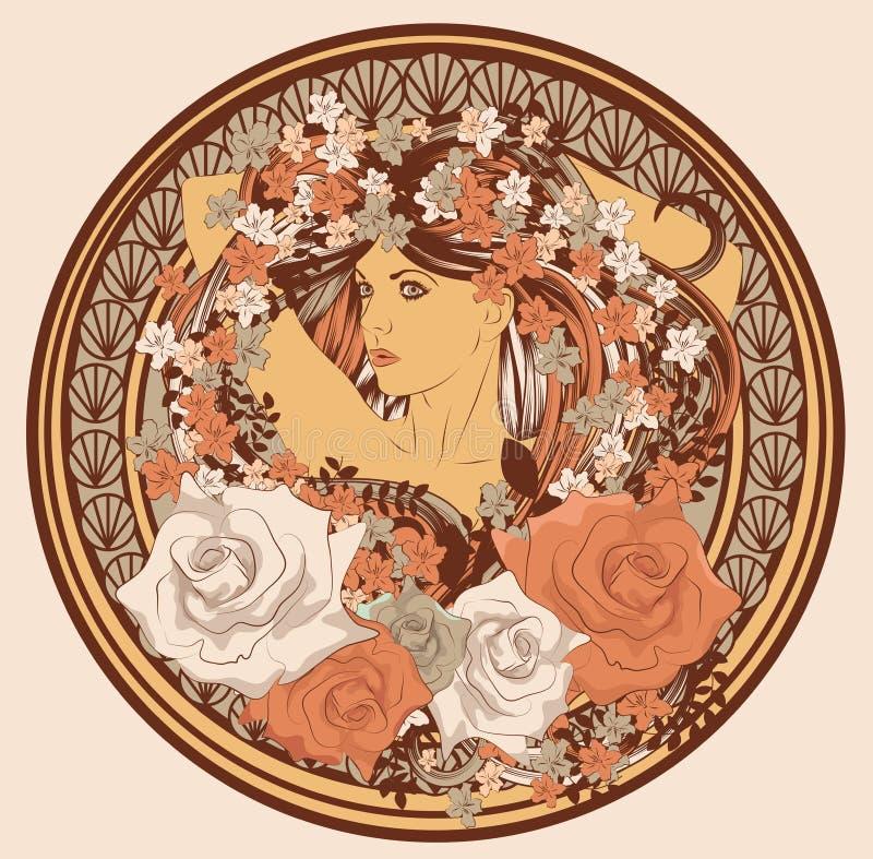 Art Nouveau utformade kvinnan i cirkel royaltyfri illustrationer