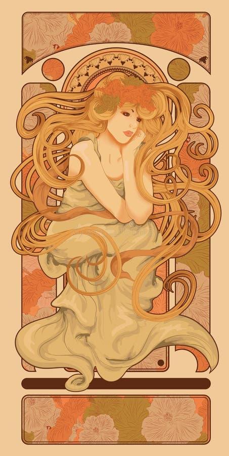 Art Nouveau utformade kvinnan med långt hår royaltyfri illustrationer
