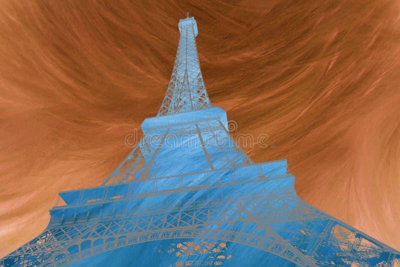 Art numérique abstrait d'art numérique abstrait d'Eiffel de Tour Eiffel à Paris Silhouette Carte postale, de haute résolution illustration de vecteur