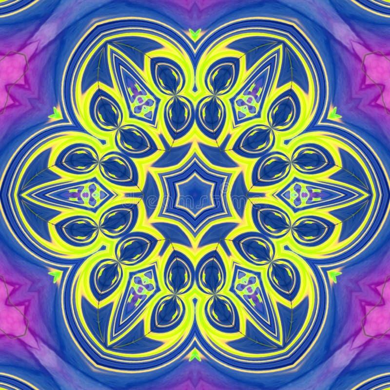 Art numérique de fleur avec les effets de bleus, jaunes et violets de couleurs illustration de vecteur