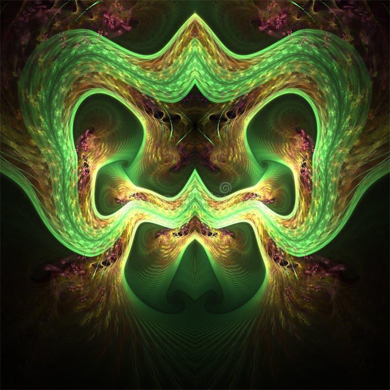 Art numérique de fractale d'ordinateur, formes abstraites fantastiques, masque vert terryfying avec des oreilles et nez illustration libre de droits