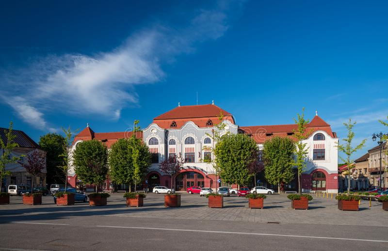 Art Nuoveau building of Miner hotel on Liberty square of Baia Mare, the capital of Maramures County, Romania stock photos