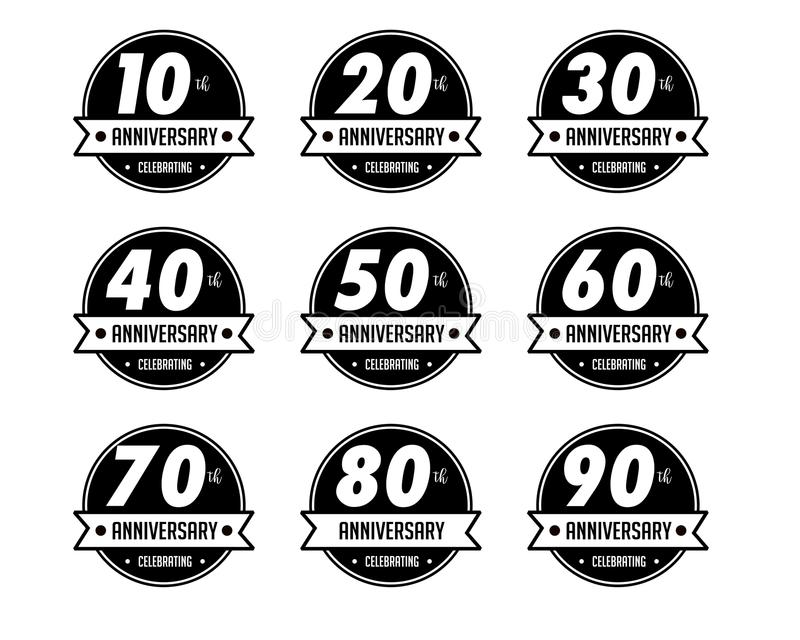 Anniversary badges. Is an art object in the form of an badges vector illustration