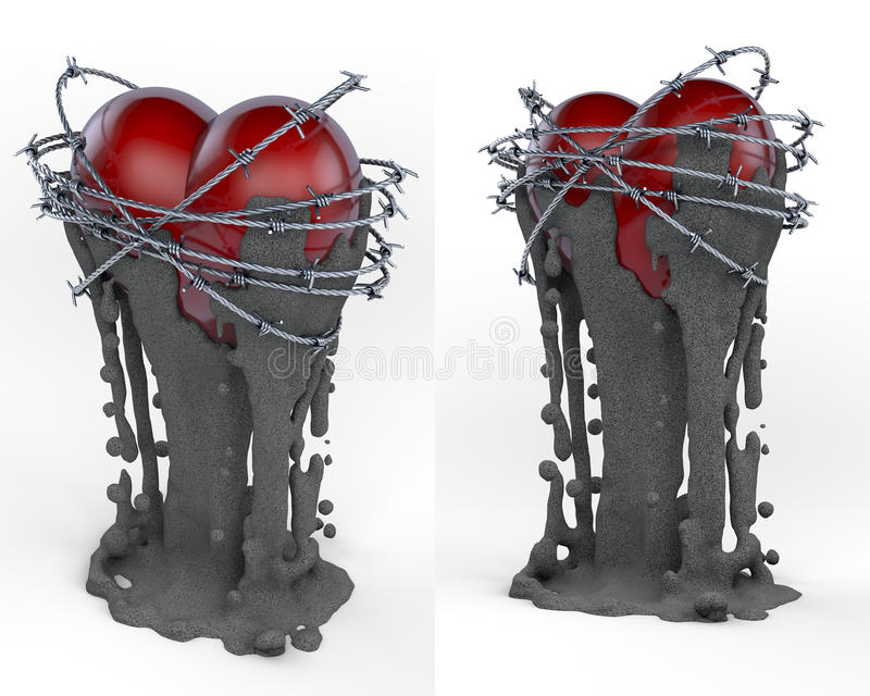 Art object, totem, trophy red heart surrounded by barb wire stock illustration