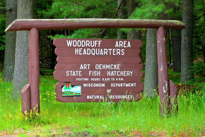 Art Oehmcke State Fish Hatchery Wisconsin. Woodruff, USA - June 14, 2015: The Art Oehmcke State Fish Hatchery is located in Woodruff, Wisconsin. It opened in the stock image