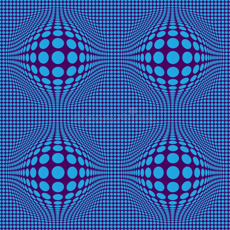 Art op abstrait d'illusion optique avec les points bleus sur un fond de Bordeaux illustration libre de droits
