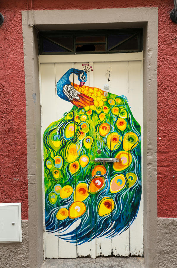 The art of open door in the street of Santa Maria. A project which aims to `open` the city to artistic and cultural events. Funch. Al, Madeira stock photos