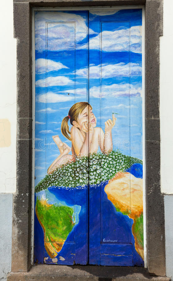 The art of open door in the street of Santa Maria. A project which aims to `open` the city to artistic and cultural events. Funch. Al, Madeira royalty free stock images