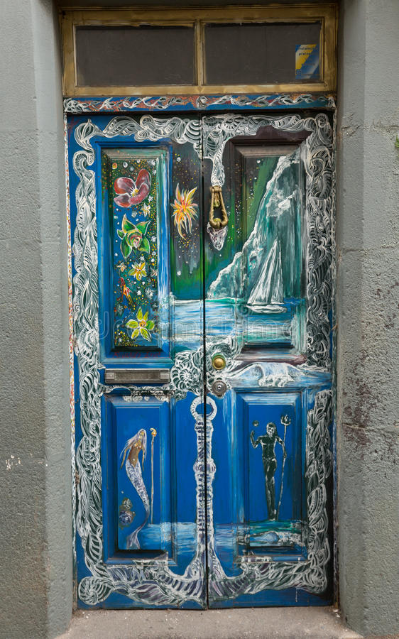 The art of open door in the street of Santa Maria. A project which aims to `open` the city to artistic and cultural events. Funchal, Madeira, Portugal royalty free stock image