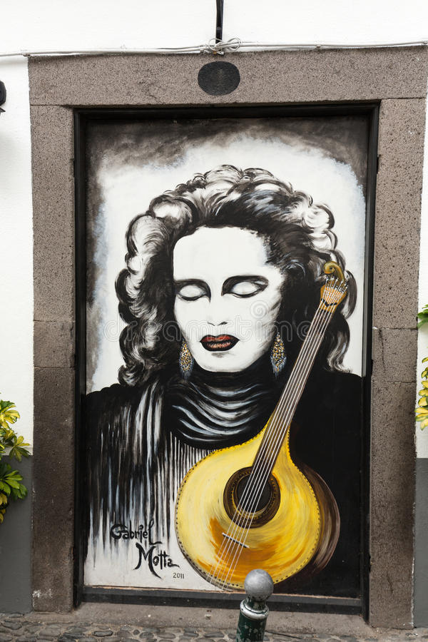 The art of open door in the street of Santa Maria. A project which aims to `open` the city to artistic and cultural events. Funchal, Madeira, Portugal royalty free stock images