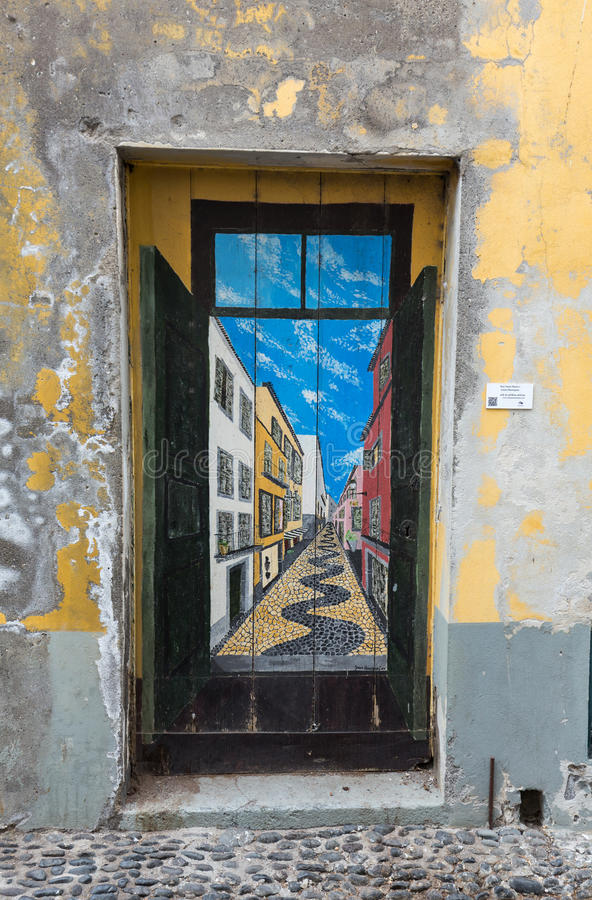 The art of open door in the street of Santa Maria. A project which aims to `open` the city to artistic and cultural events. Funchal, Madeira, Portugal stock photography