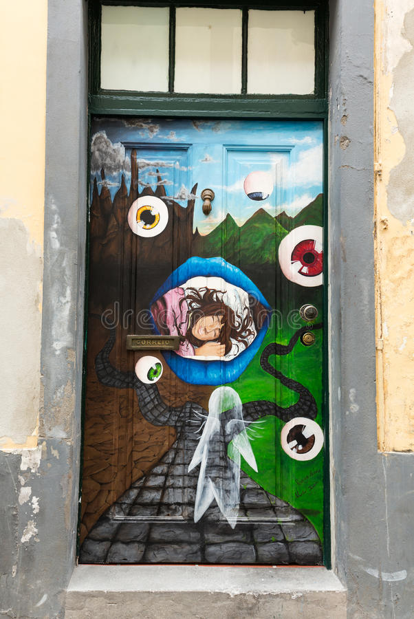 The art of open door in the street of Santa Maria. A project which aims to `open` the city to artistic and cultural events. Funchal, Madeira, Portugal stock image