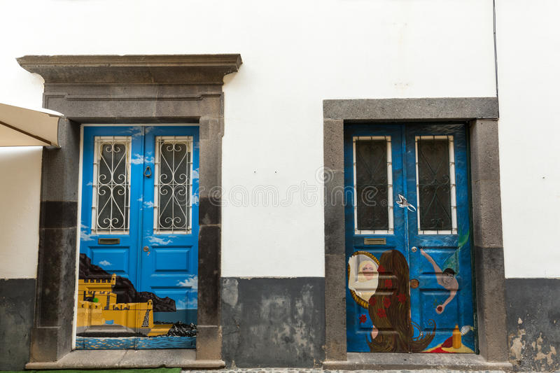 The art of open door in the street of Santa Maria. A project which aims to `open` the city to artistic and cultural events. Funchal, Madeira, Portugal royalty free stock photos