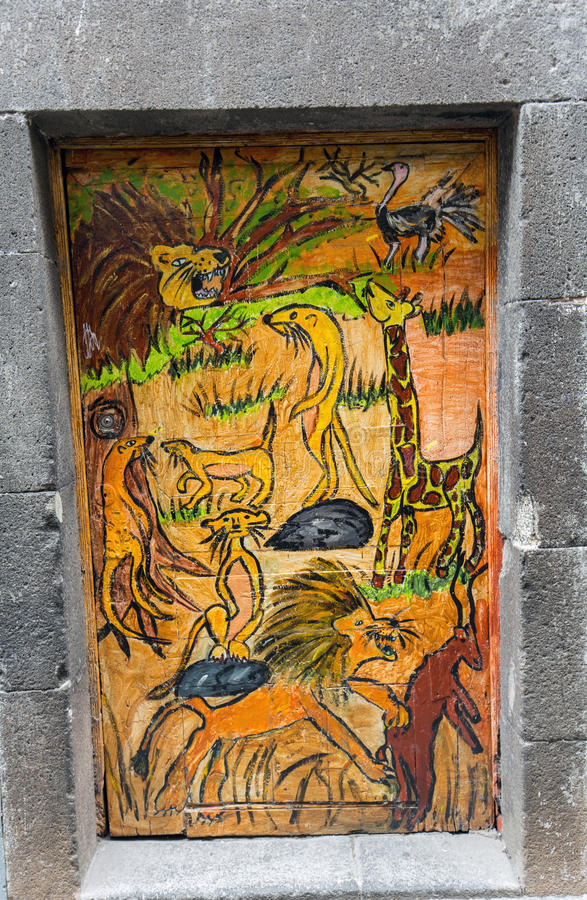 The art of open door in the street of Santa Maria. A project which aims to `open` the city to artistic and cultural events. Funchal, Madeira, Portugal royalty free stock photography