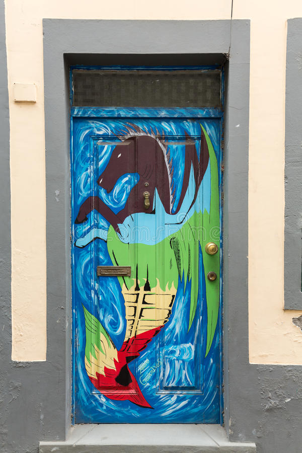 The art of open door in the street of Santa Maria. A project which aims to `open` the city to artistic and cultural events. Funcha royalty free stock images