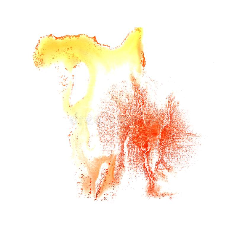 Art Orange, yellow, red watercolor ink paint blob watercolour sp. Lash colorful stain isolated on white background 2 royalty free stock photos