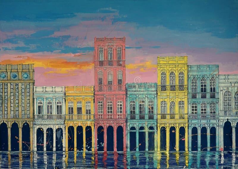 Art original, peinture d'aquarelle des bâtiments, maisons de ville sur un fond de coucher du soleil, Cuba La Havane image stock