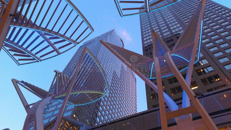 Art outside modern skyscrapers royalty free stock image