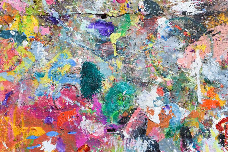 Art paint background of bright multi coloured and textured painted surface vector illustration