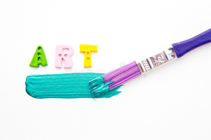 Art - Paint and brush. Art - letters with Paint and brush on white background stock photos