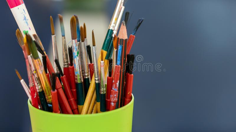 Art Paint Brush Tool In Box. It`s Time To Create Your Own Style stock images