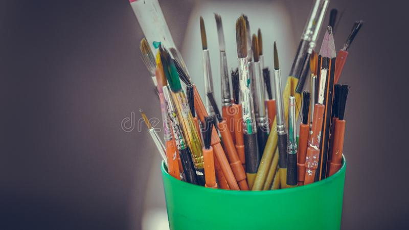 Art Paint Brush Tool Set. It`s Time To Create Your Own Style stock photo