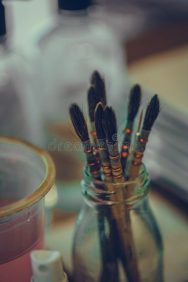 Art Paint Brush Tool Set. It`s Time To Create Your Own Style stock image