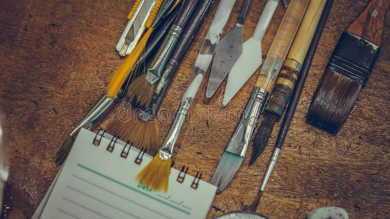 Art Paint Brush Tool Set. It`s Time To Create Your Own Style royalty free stock image