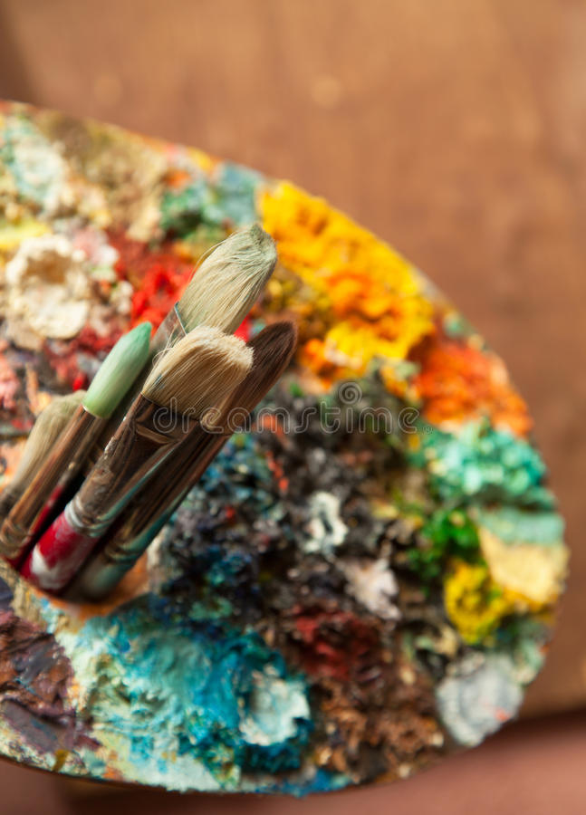 Art Paint Brushes and Palette. Focus on brushes royalty free stock photos
