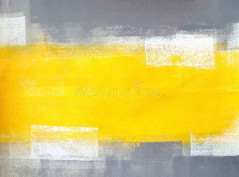Art Painting abstrait gris et jaune photographie stock libre de droits