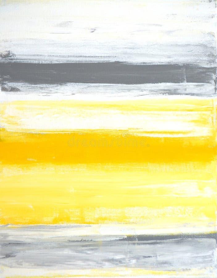 Art Painting abstrait gris et jaune images libres de droits