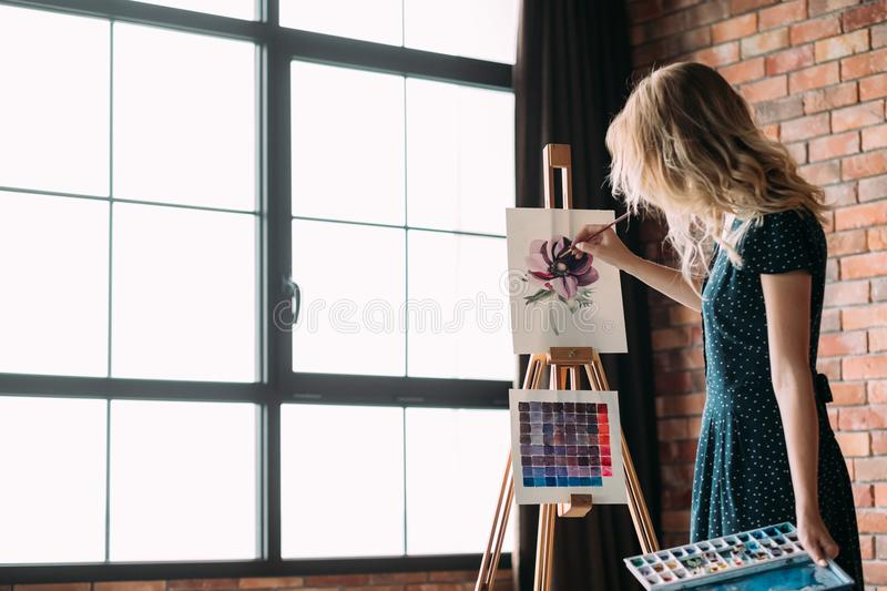 Art painting hobby leisure girl drawing picture. Art painting hobby. creative leisure. girl drawing a picture. talent inspiration creation and self expression stock photography