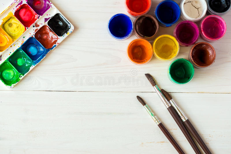 Art of Painting. Painting set: brushes, paints, watercolor, acrylic paint top down view royalty free stock images