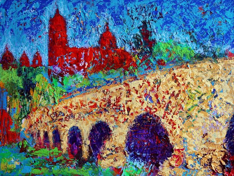 Art painting of Salamanca old bridge royalty free stock image