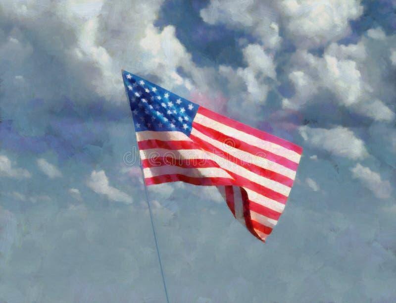Art Painting of USA Statue of Liberty stock image
