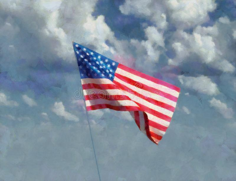 Art Painting van het Standbeeld van de V.S. van Vrijheid stock afbeelding