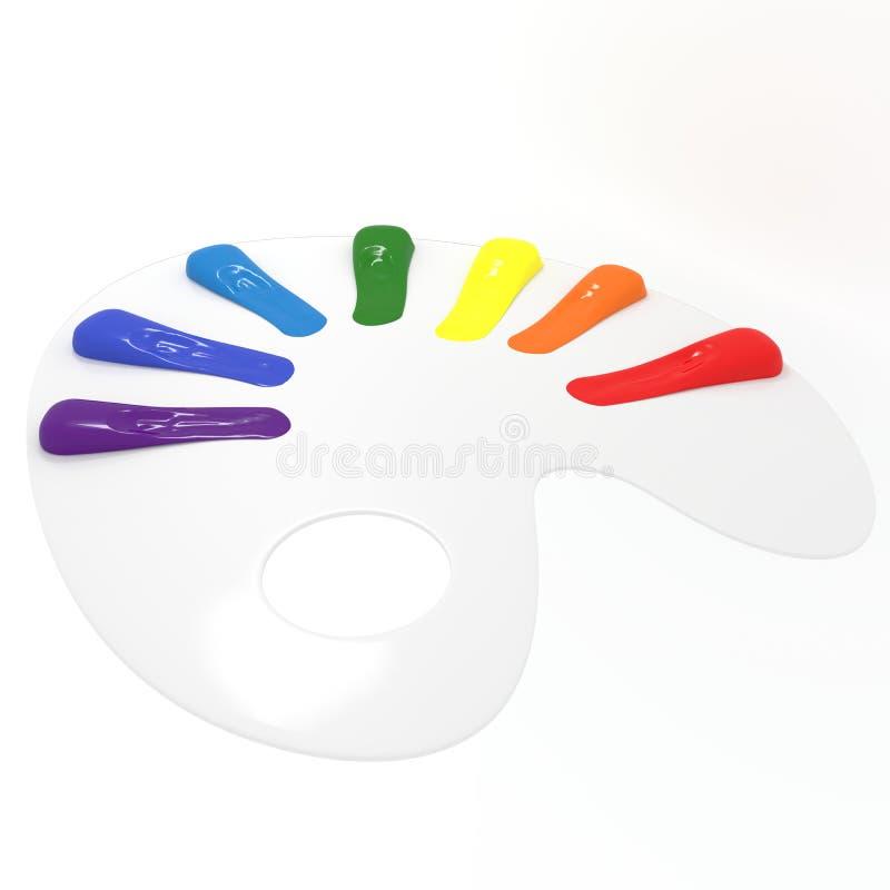 Art Palette With Seven Colors stock foto