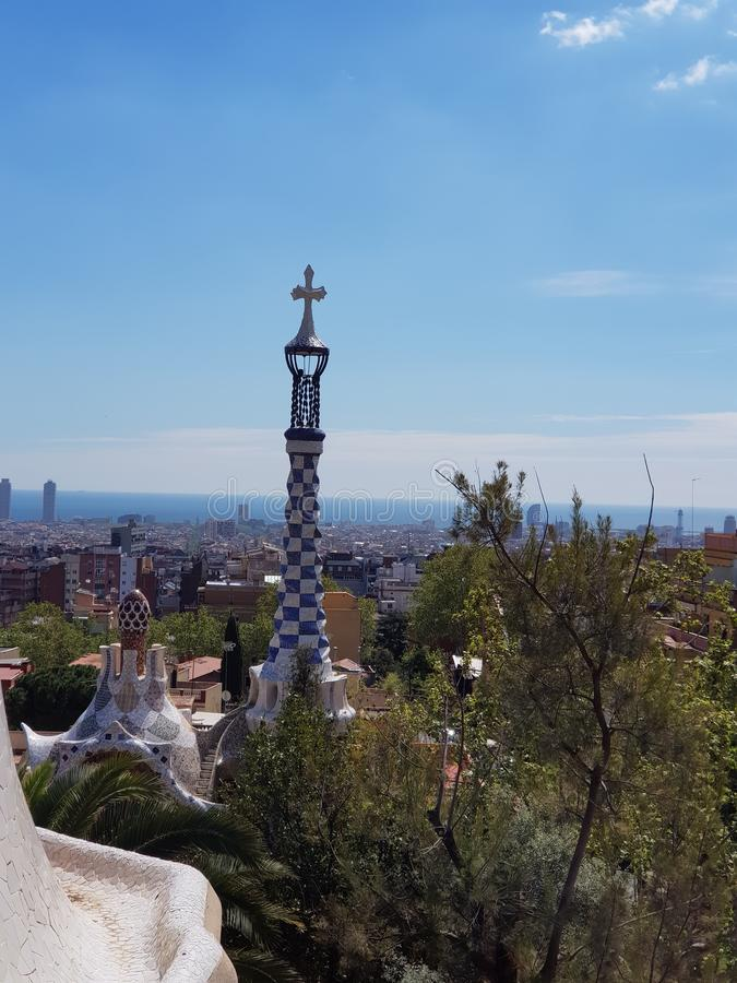 Art in Park Guell, Barcelona,Spain. Gaudis, barcelonaspain, tourism, tourists, day, arcade, palm, trees, architects, stone, ceramics, shape, bank, pieces, tile stock photos