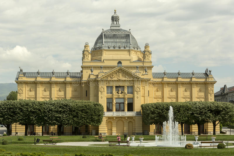 Art pavilion in Zagreb in spring time. The history of the Art Pavilion in Zagreb is in a way also the history of fine arts of the 20th century in Croatia. That royalty free stock image