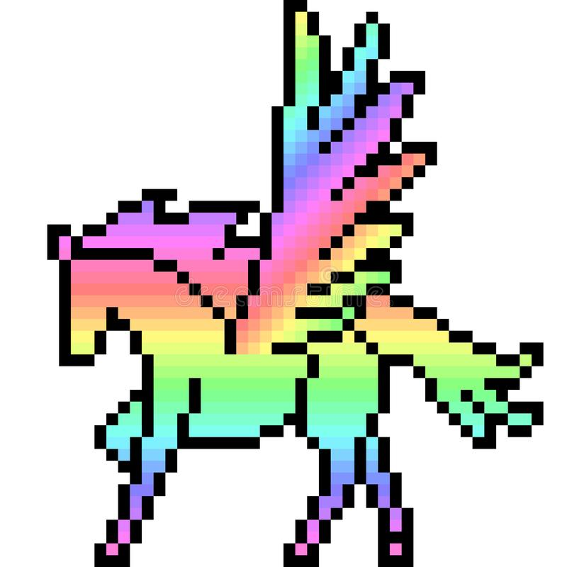Art Pegasus de pixel de vecteur illustration stock