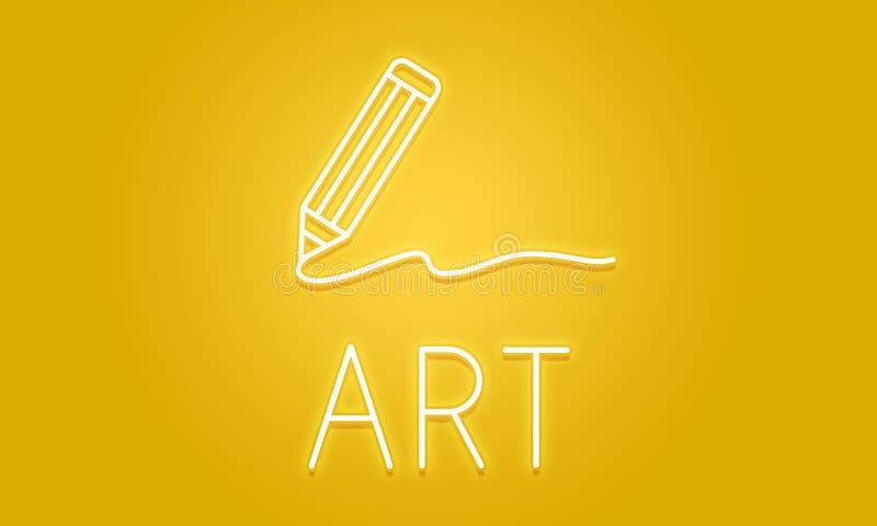 Art Pencil Drawing Creativity Imagination-Vaardighedenconcept royalty-vrije illustratie