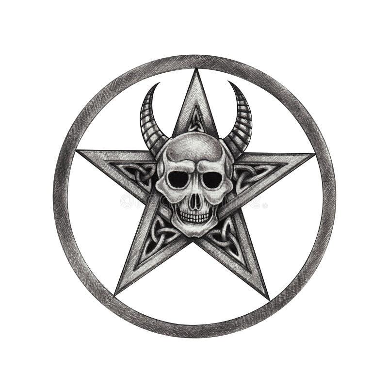 Art Pentagram Mix Devil Skull Tattoo. stock illustration