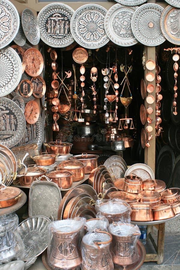 Art persan traditionnel, cuivre et argent photo stock