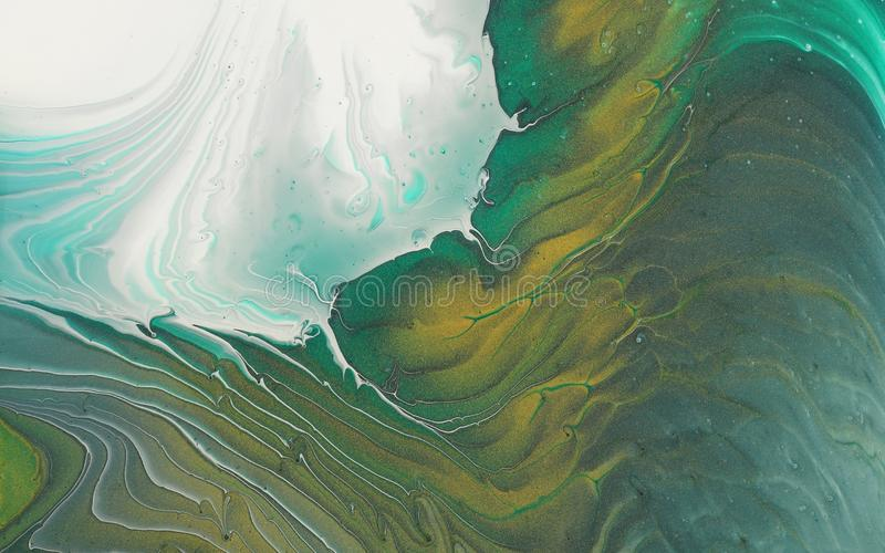 Art photography of abstract marbleized effect background. emerald green, white and gold creative colors. Beautiful paint.  stock images