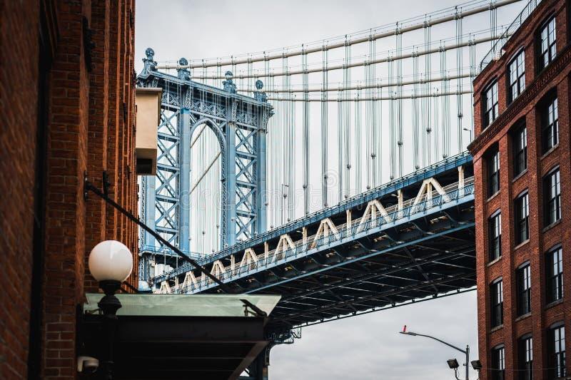 Art Photography fino del puente de Manhattan en Dumbo Brooklyn NYC imagen de archivo libre de regalías