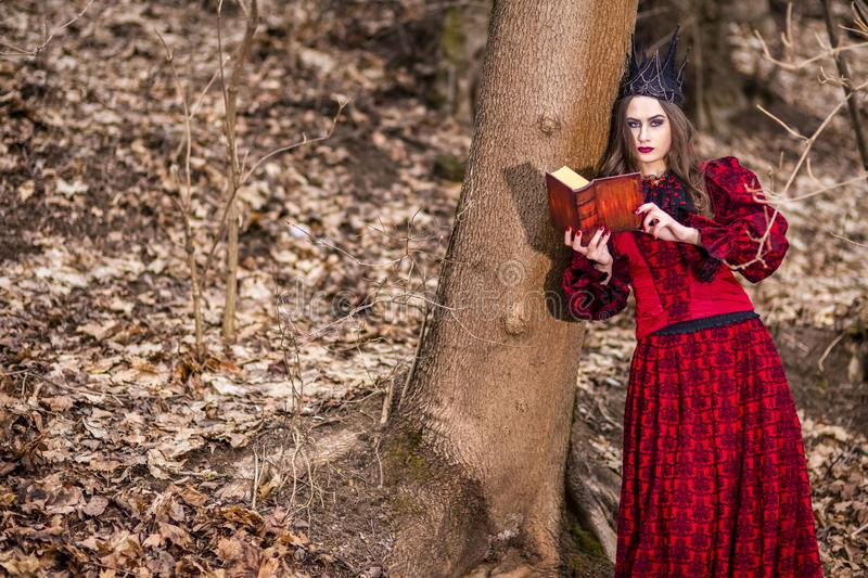 Art Photography. Gorgeous Mysterious Fairy Princess in Red Dress and Black Crown With Old Book. Posing in Forest Outdoors stock images