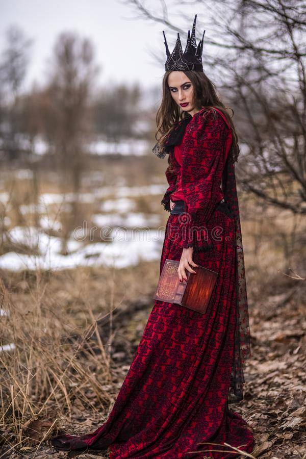 Art Photography Ideas. Gorgeous and Mysterious fairy Princess in Red Dress and Black Crown with Old Book. Posing in Forest stock images