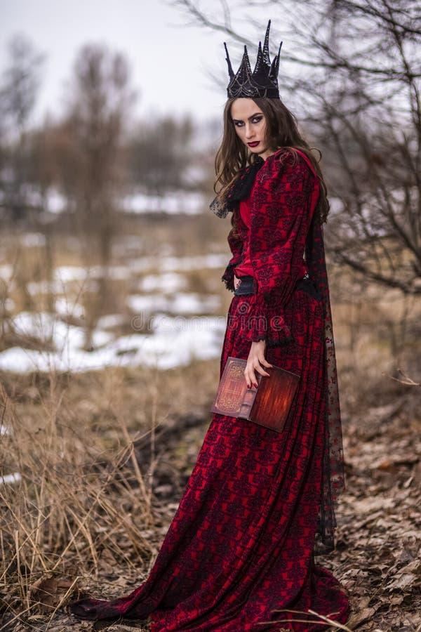 Art Photography Ideas Ursnygg och mystisk felik prinsessa i röd klänning och svart krona med den gamla boken Posera i skog arkivbilder