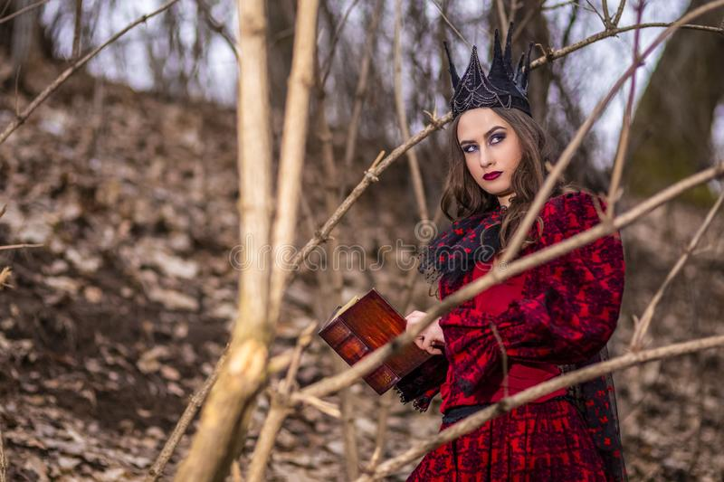 Art Photography. Mysterious Fairy Lady in Red Dress and Black Crown With Old Book. Posing in Forest Outdoors stock photos