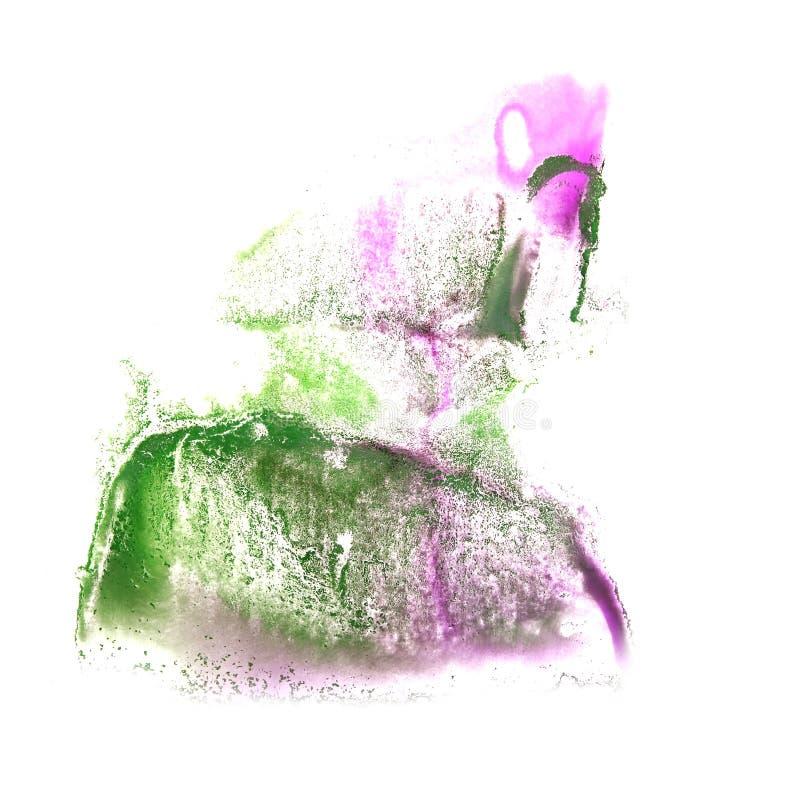 Art Pink, gota verde de la pintura de la tinta de la acuarela ilustración del vector